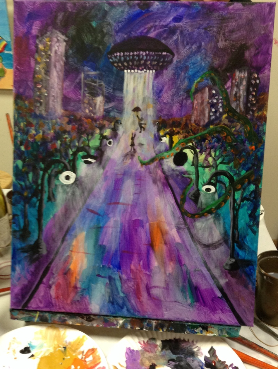 Painting of a park with tentacles coming out of trees and a romantic couple being taken into alien ship