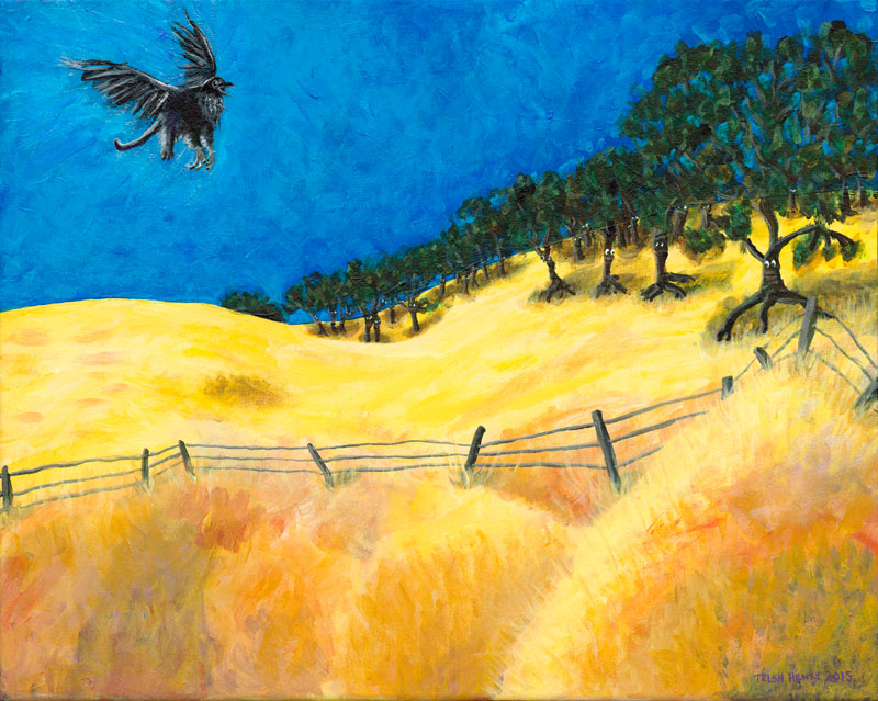Painting of yellow hills with walking trees