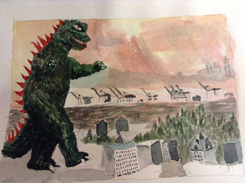 A watercolor drawing painting of downtown Oakland with a huge Godzilla monster maurading and stepping on buildings